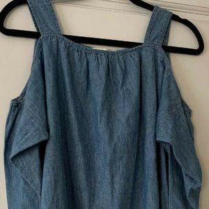 Madewell Chambray Cold Shoulder Linen Blend Top